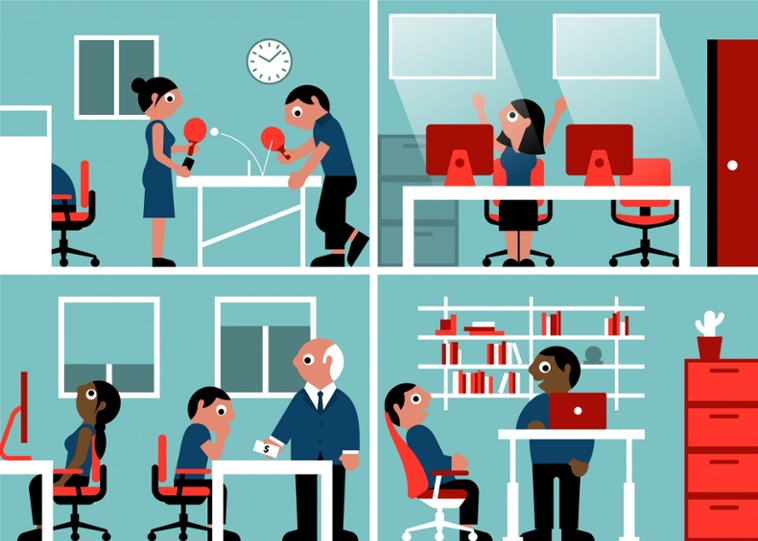 An illustration interpreting the modern workplace